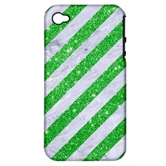 Stripes3 White Marble & Green Glitter (r) Apple Iphone 4/4s Hardshell Case (pc+silicone)