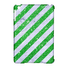 Stripes3 White Marble & Green Glitter (r) Apple Ipad Mini Hardshell Case (compatible With Smart Cover)