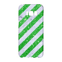 Stripes3 White Marble & Green Glitter (r) Samsung Galaxy S8 Hardshell Case