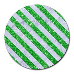 Stripes3 White Marble & Green Glitter Round Mousepads
