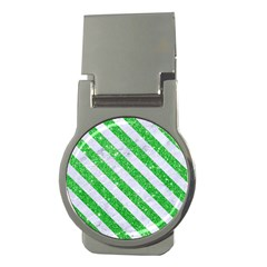 Stripes3 White Marble & Green Glitter Money Clips (round)