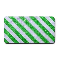 Stripes3 White Marble & Green Glitter Medium Bar Mats