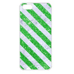 Stripes3 White Marble & Green Glitter Apple Iphone 5 Seamless Case (white)