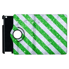Stripes3 White Marble & Green Glitter Apple Ipad 2 Flip 360 Case