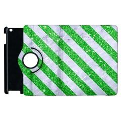Stripes3 White Marble & Green Glitter Apple Ipad 3/4 Flip 360 Case