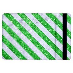 Stripes3 White Marble & Green Glitter Ipad Air Flip