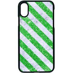 Stripes3 White Marble & Green Glitter Apple Iphone X Seamless Case (black)