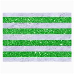 Stripes2 White Marble & Green Glitter Large Glasses Cloth