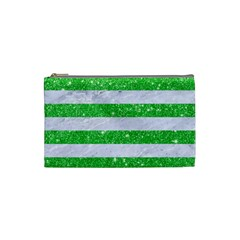Stripes2 White Marble & Green Glitter Cosmetic Bag (small)