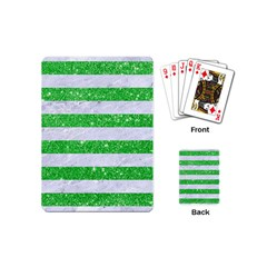 Stripes2 White Marble & Green Glitter Playing Cards (mini)