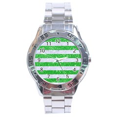 Stripes2 White Marble & Green Glitter Stainless Steel Analogue Watch