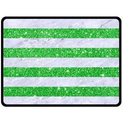 Stripes2 White Marble & Green Glitter Double Sided Fleece Blanket (large)