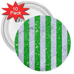 Stripes1 White Marble & Green Glitter 3  Buttons (10 Pack)