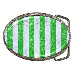 Stripes1 White Marble & Green Glitter Belt Buckles