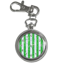 Stripes1 White Marble & Green Glitter Key Chain Watches