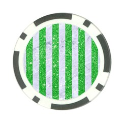 Stripes1 White Marble & Green Glitter Poker Chip Card Guard (10 Pack)