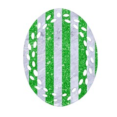 Stripes1 White Marble & Green Glitter Oval Filigree Ornament (two Sides)