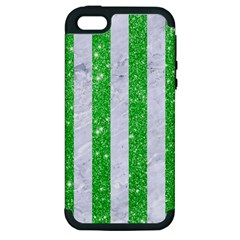 Stripes1 White Marble & Green Glitter Apple Iphone 5 Hardshell Case (pc+silicone)