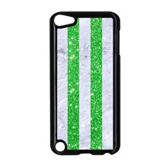 Stripes1 White Marble & Green Glitter Apple Ipod Touch 5 Case (black)