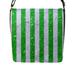 Stripes1 White Marble & Green Glitter Flap Messenger Bag (l)