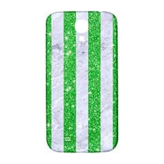 Stripes1 White Marble & Green Glitter Samsung Galaxy S4 I9500/i9505  Hardshell Back Case by trendistuff