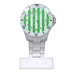Stripes1 White Marble & Green Glitter Plastic Nurses Watch