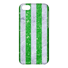 Stripes1 White Marble & Green Glitter Apple Iphone 5c Hardshell Case