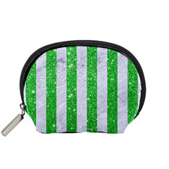 Stripes1 White Marble & Green Glitter Accessory Pouches (small)