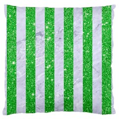 Stripes1 White Marble & Green Glitter Standard Flano Cushion Case (one Side)
