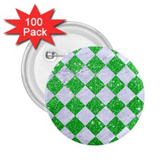 Square2 White Marble & Green Glitter 2 25  Buttons (100 Pack)
