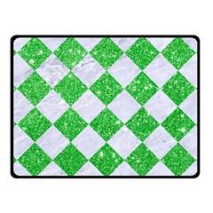 Square2 White Marble & Green Glitter Fleece Blanket (small)