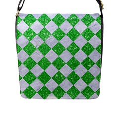 Square2 White Marble & Green Glitter Flap Messenger Bag (l)