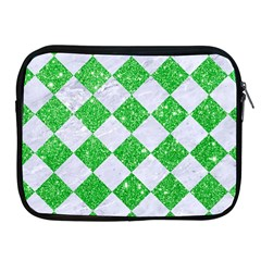 Square2 White Marble & Green Glitter Apple Ipad 2/3/4 Zipper Cases