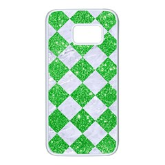 Square2 White Marble & Green Glitter Samsung Galaxy S7 White Seamless Case