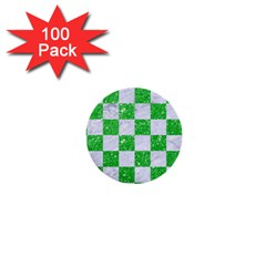 Square1 White Marble & Green Glitter 1  Mini Buttons (100 Pack)
