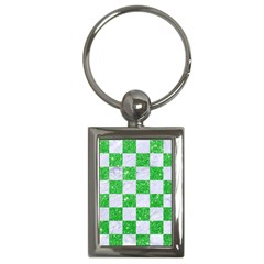 Square1 White Marble & Green Glitter Key Chains (rectangle)