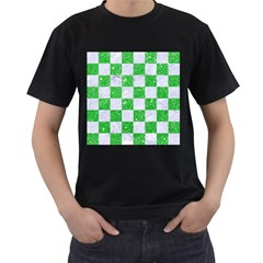 Square1 White Marble & Green Glitter Men s T Shirt (black) (two Sided)