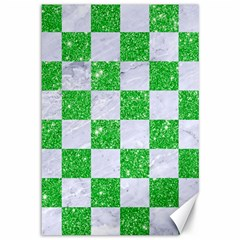 Square1 White Marble & Green Glitter Canvas 12  X 18