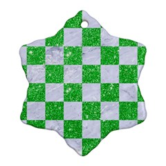 Square1 White Marble & Green Glitter Snowflake Ornament (two Sides)