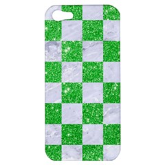 Square1 White Marble & Green Glitter Apple Iphone 5 Hardshell Case
