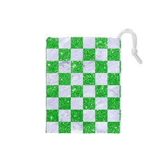 Square1 White Marble & Green Glitter Drawstring Pouches (small)