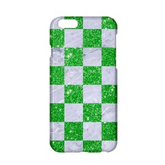 Square1 White Marble & Green Glitter Apple Iphone 6/6s Hardshell Case