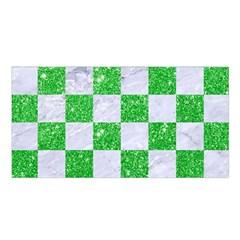 Square1 White Marble & Green Glitter Satin Shawl