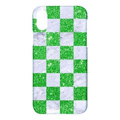 Square1 White Marble & Green Glitter Apple Iphone X Hardshell Case