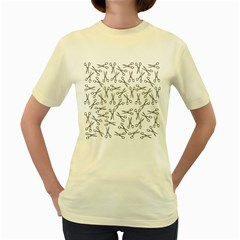 Scissors Pattern Women s Yellow T Shirt