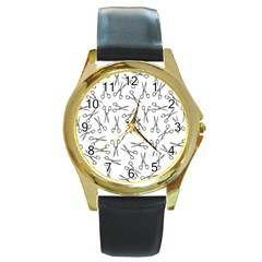 Scissors Pattern Round Gold Metal Watch