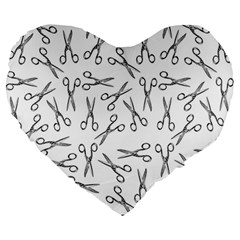 Scissors Pattern Large 19  Premium Heart Shape Cushions