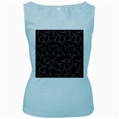 Scissors Pattern Women s Baby Blue Tank Top