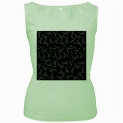 Scissors Pattern Women s Green Tank Top