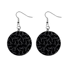 Scissors Pattern Mini Button Earrings